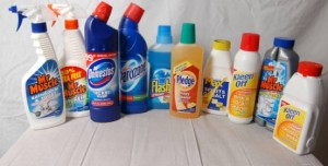 cleaning products - all in plastic packaging