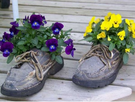 upcycled boots made into planter