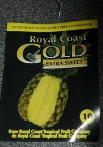 plastic strip attaching pineapple label