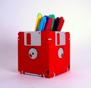 recycled floppy disk pen holder