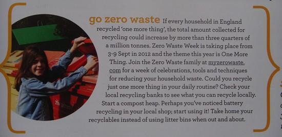 Green Parent magazine tells readers about zero waste week